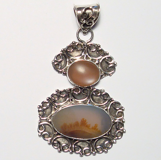 Indian scenic dendritic agate silver pendant