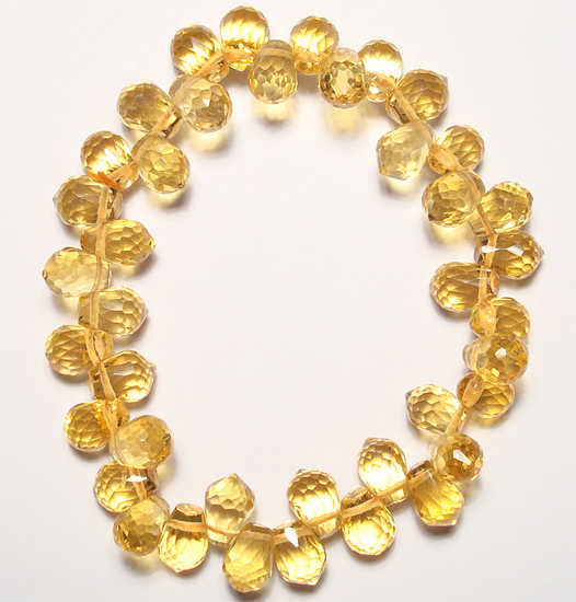 faceted briolette citrine beads