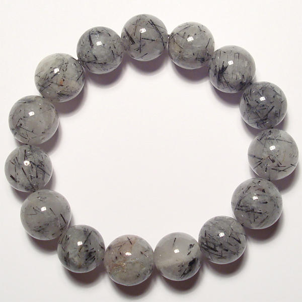 black tourmalated quartz beads bracelet
