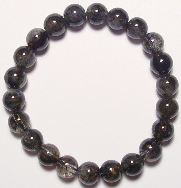 black tourmalated quartz beads